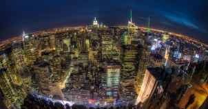 Panoramic view of New York from the Top of the Rock at Rockefeller Center