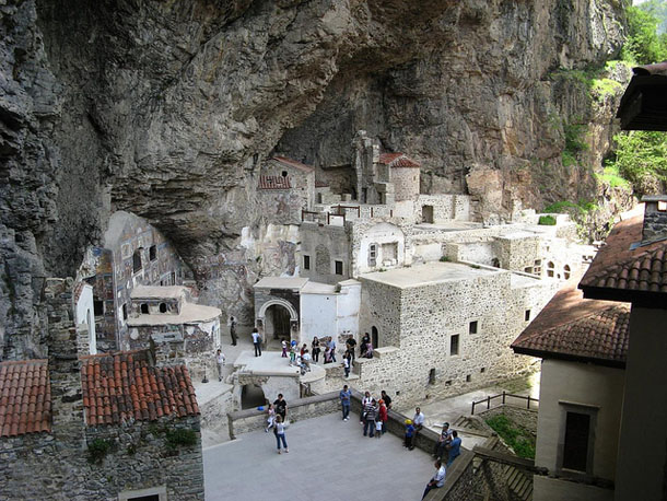 Tourists in Sumela Monastery
