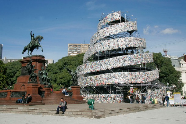 Tower Babel made of books, Buenos Aires