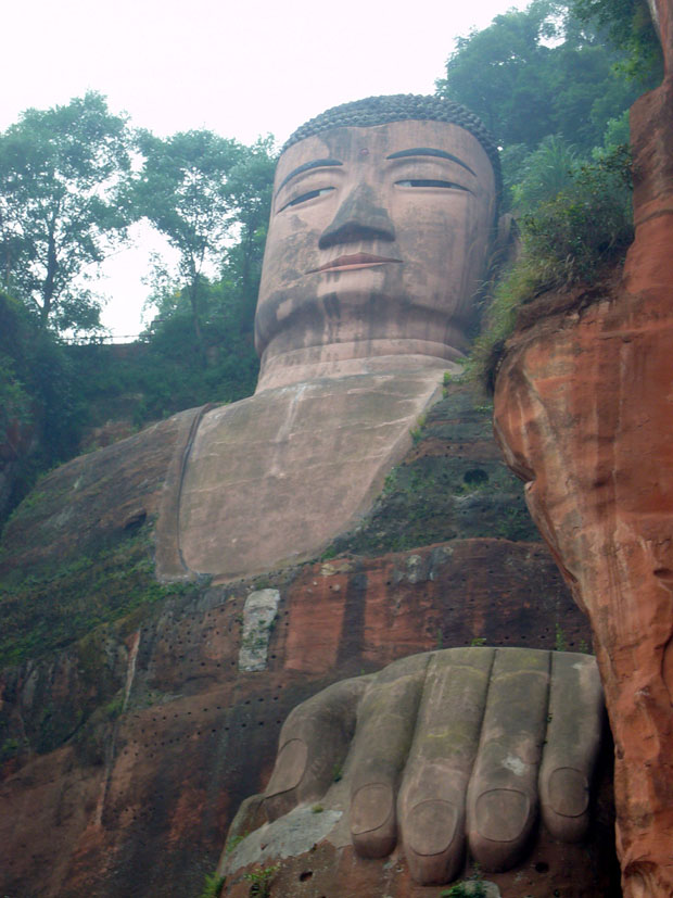 Giant Buddha statue close view