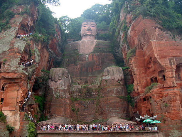 Giant Buddha statue front view