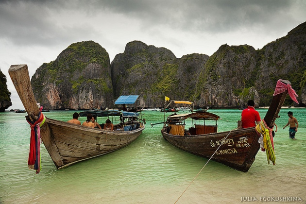 Islands near Phuket, Thailand. View on Thai in rainy season - not standard, but intersting
