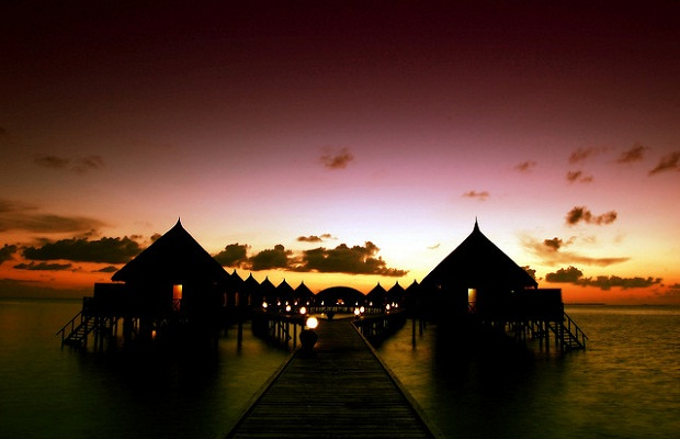 Sunset over Angaga Island Resort & Spa
