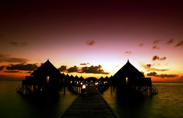 Sunset over Angaga Island Resort & Spa