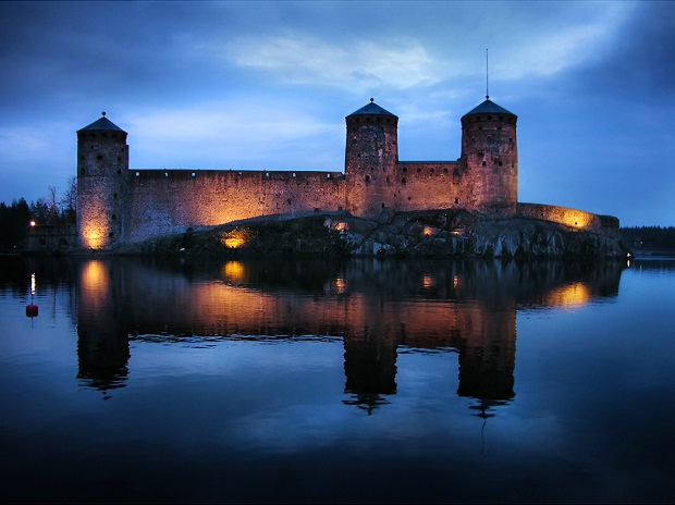 Olavinlinna Castle at Night