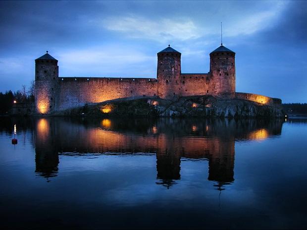 Olavinlinna Castle at Night
