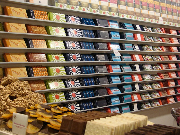 Shelves filled with Chocolate