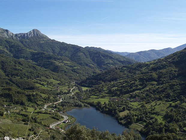 View of Asturias while climbing